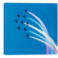 Red Arrows Coloured Roll, Canvas Print