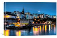 Tenby Harbour Moonlit, Canvas Print