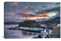 Sunset colour over Portree, Canvas Print