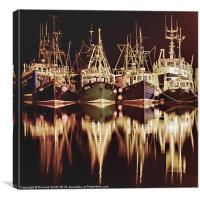 Fishing fleet at Portree pier, Canvas Print