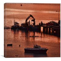 Working at Portree pier., Canvas Print