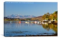 Portree sea loch with yachts and the Cuillin hills, Canvas Print