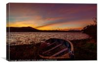 Early sunrise colour over Loch Portree. , Canvas Print