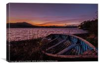Loch Portree sunrise viewed over a clinker rowboat, Canvas Print