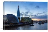 Setting of the sun over the Southbank, Canvas Print