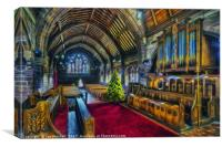Christmas Church Service, Canvas Print