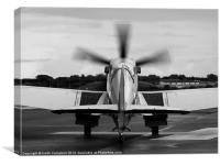 Spitfire Taxies Out - black and white, Canvas Print