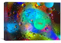 Oil droplets on water, Canvas Print