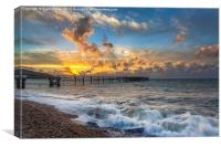 Sunset At Totland Pier, Canvas Print
