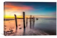 Binstead Jetty Sunset Isle Of Wight, Canvas Print