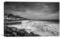 Ventnor Beach Isle Of Wight BW, Canvas Print