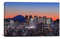 Mt Fuji With Shinjuku Skyscrapers, Canvas Print