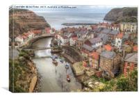 Looking down on Staithes , Canvas Print