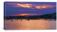 Sunset Over Swanage, Canvas Print