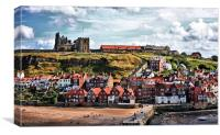 Whitby Cottages And Abbey, Canvas Print