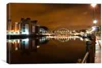 Newcastle Quayside, bridges and Baltic, Canvas Print