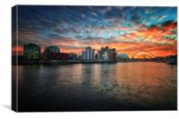 Spectacular sunset over Newcastle Upon Tyne, Canvas Print