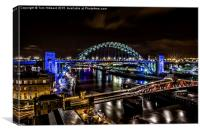 Tyne Bridge and the River Tyne, Newcastle, Canvas Print