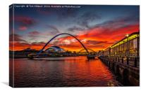 sunset view from Quayside, Newcastle Upon Tyne, Canvas Print