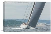 Ranger J Class Yacht racing in Falmouth Harbour, Canvas Print