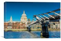 St Paul's Cathedral and the Millennium Bridge, Canvas Print
