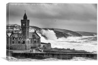 Porthleven in Black and White, Canvas Print