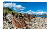 Rusty Remains, Place, Cornwall, Canvas Print