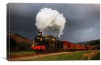 Goods train in the sun as a snowstorm approaches, Canvas Print