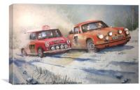 Racing in the 1967 Monte Carlo Rally, Canvas Print