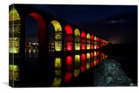 Red And Gold Bridge., Canvas Print