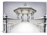 Bandstand in the snow, Canvas Print