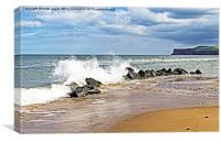Breaking Waves on Marske Beach, Canvas Print