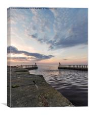 East and West piers Whitby, Canvas Print
