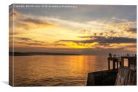 Watching the sunset Whitby, Canvas Print