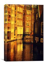 Golden Hour Reflections in Amsterdam, Canvas Print