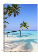 Bending Palm Trees Over Blue Ocean, Canvas Print