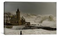 Porthleven battered by huge waves, Canvas Print