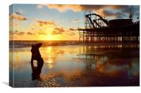 Sunset Photographer At South Pier Blackpool, Canvas Print