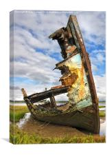 Wreck On The Banks Of The River Wyre, Canvas Print