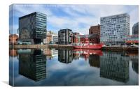 Reflections on Canning Dock Liverpool, Canvas Print