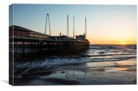 South Pier Sunset Blackpool, Canvas Print