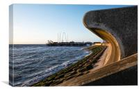 Sea Wall and South Pier - Blackpool, Canvas Print