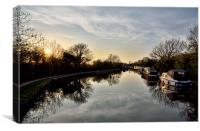 Lancaster Canal As The Sun Went Down For The Day, Canvas Print