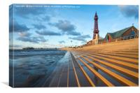Steps to the beach at Blackpool, Canvas Print