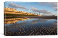Down On The Beach At Blackpool One Evening, Canvas Print
