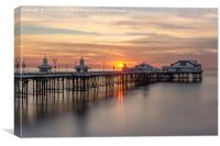 Sunset on the beach at Blackpool's North Pier, Canvas Print