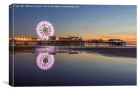 Last Light on the beach at Central Pier, Blackpool, Canvas Print