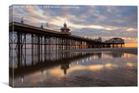 Sunset on the beach at Blackpool by North Pier, Canvas Print