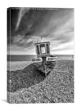 Fishing boat in mono, Canvas Print