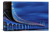 Second Severn Crossing at Night, Canvas Print